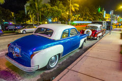 Night view at Ocean drive  in Miami Beach Royalty Free Stock Photos