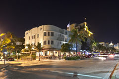 Night view at Ocean drive in Miami. MIAMI BEACH, USA - August 02: Night view at Ocean drive on August 02,2010 in Miami Beach, Florida. Art Deco Night-Life in Stock Images