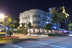 Night view at Ocean drive in Miami Stock Photos