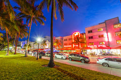 Night view at Ocean drive in Miami Royalty Free Stock Photography