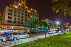 Night view at Ocean drive in South Stock Photo