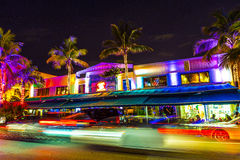 Night view at Ocean drive in South Stock Photos