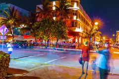 Night view at Ocean drive in South Royalty Free Stock Image