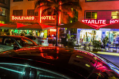 Night view at Ocean drive in South Royalty Free Stock Images
