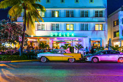 Night view at Ocean drive in South. MIAMI BEACH - July 28: Night view at Ocean drive on July 28, 2013 in Miami Beach, Florida. Art Deco Night-Life in South Beach Royalty Free Stock Images