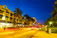 Night view at Ocean drive in South. MIAMI BEACH - July 28: Night view at Ocean drive on July 28, 2013 in Miami Beach, Florida. Art Deco Night-Life in South Beach Stock Image