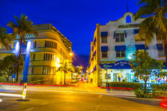 Night view at Ocean drive in South Stock Images
