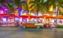Night view at Ocean drive in South Miami Royalty Free Stock Image