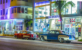 Night view at Ocean drive in South Miami Royalty Free Stock Photography
