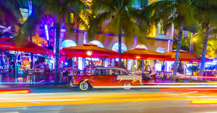 Night view at Ocean drive in South Miami Stock Photography