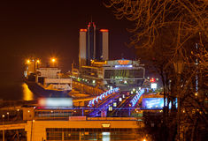 Night view of Odessa seaport Royalty Free Stock Images