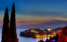 Night view odl town Dubrovnik Royalty Free Stock Photos