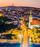 Night View Of Bratislava City Center Stock Image