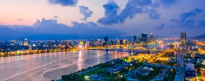 Free Night View Of Da Nang Over Han River In Vietnam Stock Photography - 161664352