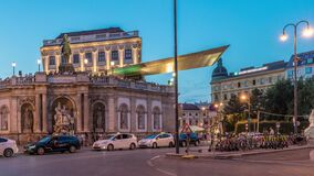 Free Night View Of Equestrian Statue Of Archduke Albert In Front Of The Albertina Museum Day To Night Timelapse In Vienna Stock Photo - 217531150