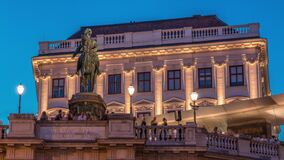 Free Night View Of Equestrian Statue Of Archduke Albert In Front Of The Albertina Museum Day To Night Timelapse In Vienna Stock Photos - 217531253