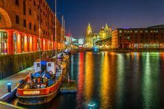 Free Night View Of Illuminated Albert Dock In Liverpool, England Royalty Free Stock Images - 216148449