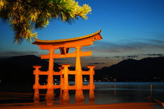 Night View Of Majestic Torii Gate During Low Tide Stock Photography