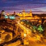 Night View Of Medieval Half-ruined Castle In Kamenetz-Podolsk Stock Photography