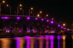 Night View Of Miami Bridge To South Beach Stock Image