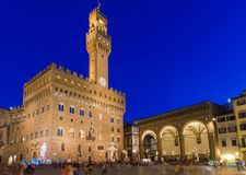 Free Night View Of Piazza Della Signoria And Palazzo Vecchio In Florence Royalty Free Stock Photography - 34696587
