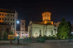 Night View Of Saint Anton Church (The Old Princely Court Church) In Bucharest Stock Images