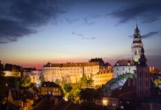 Free Night View Of The Cesky Krumlov. Czech Republic Stock Image - 189581501