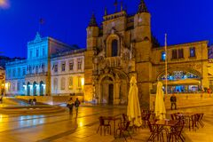 Free Night View Of The Church Of Holy Cross At Coimbra, Portugal Stock Images - 205113404
