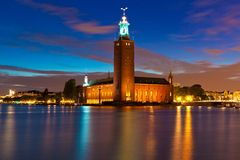 Night View Of The City Hall In Stockholm, Sweden Stock Photos