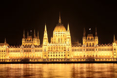 Night View Of The Parliament In Budapest Royalty Free Stock Image