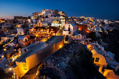 Night view of the Oia resort, Santorini island, Greece Stock Images
