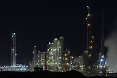 Night View of an Oil Refinery Plant Royalty Free Stock Photo