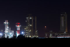Night View of an Oil Refinery Plant. Stock Photo