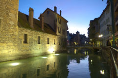 Night view on old Annecy canals Royalty Free Stock Images