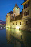 Night view on old Annecy canals Stock Photography