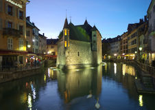 Night view on old Annecy canals Royalty Free Stock Photo