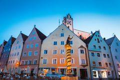 Night view of old Bavarian town Fussen Stock Images