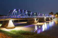 Night View of old Bridge, Chiang mai, Thailand Stock Photos
