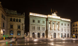 Night view of old city hall.  Barcelona Royalty Free Stock Photos