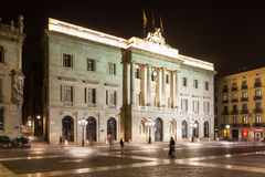 Night view of old city hall of Barcelona Royalty Free Stock Photography