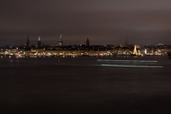 Night view of the Old city, Stockholm Stock Photography