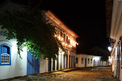 Night view of old colonial houses in historic downtown of Paraty Royalty Free Stock Photos
