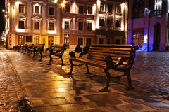 Night view of the old european town Stock Photography