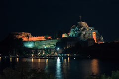 Night view of Old fortress, Corfu Royalty Free Stock Photos