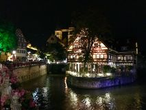 Night view of old medieval house in city center of Esslingen am Neckar Royalty Free Stock Photography