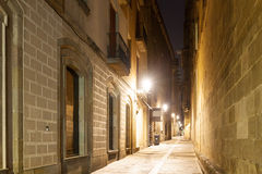 Night view of old narrow street Royalty Free Stock Photo