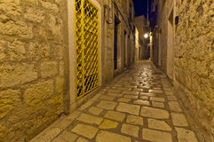 Night view of the old, narrow street Royalty Free Stock Photo