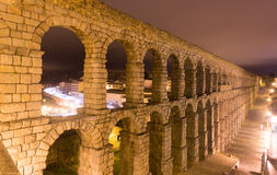 Night view of old roman aqueduct Royalty Free Stock Photography