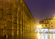 Night view of Old Roman Aqueduct Stock Image