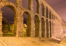 Night view of old roman aqueduct Stock Photos